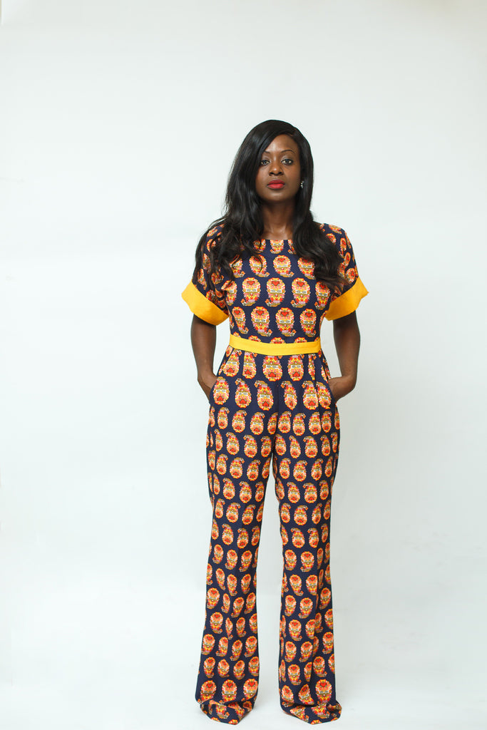 Navy Paisley Print Cotton Jumpsuit