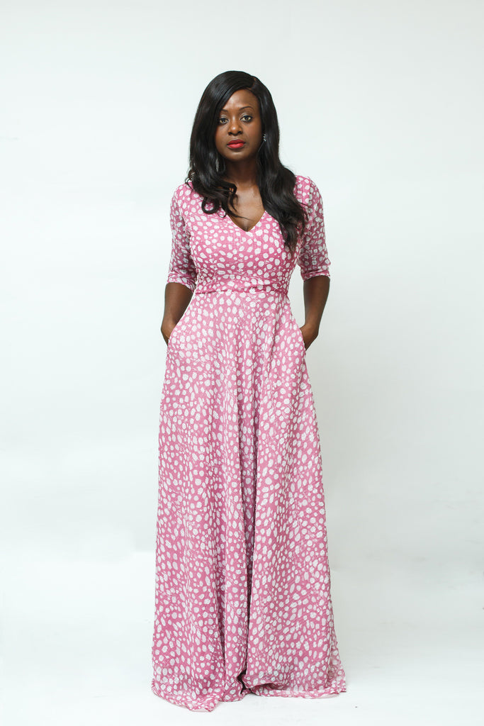 Pink White Spot Chiffon Maxi Dress with Three Quarter Sleeves