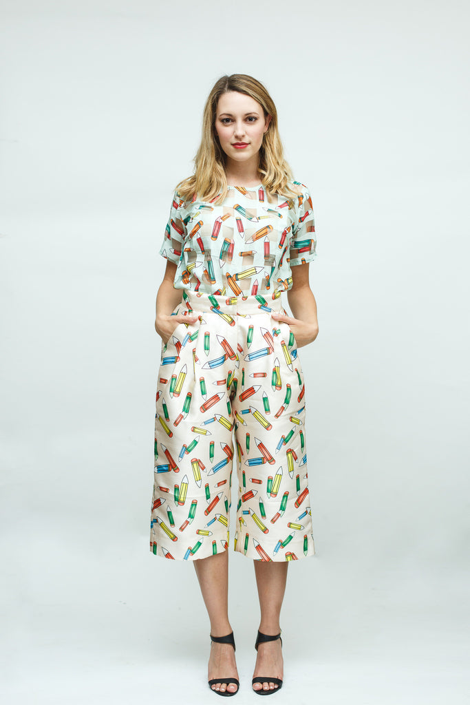 White Pencil Print Organza Shirt and Culottes Set