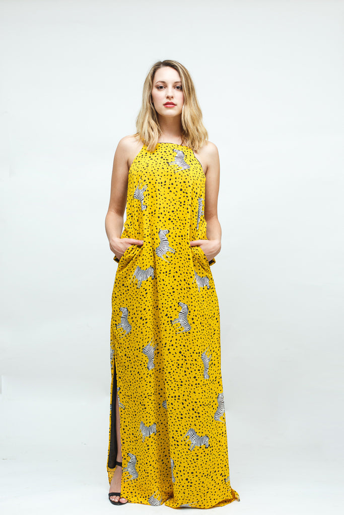 Yellow Zebra Print Chiffon Maxi Dress with Pockets