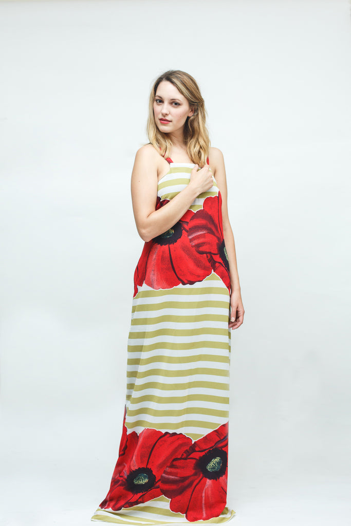 Stripe Poppy Print Maxi Dress