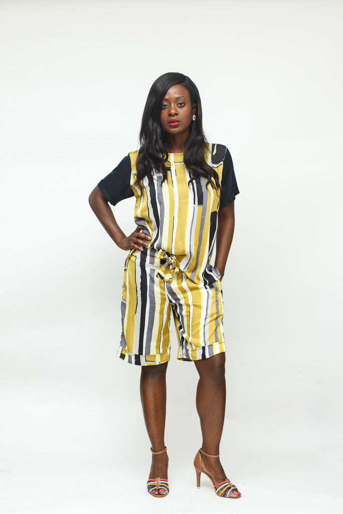 Lemon Stripe Silk Shirt and Short Set