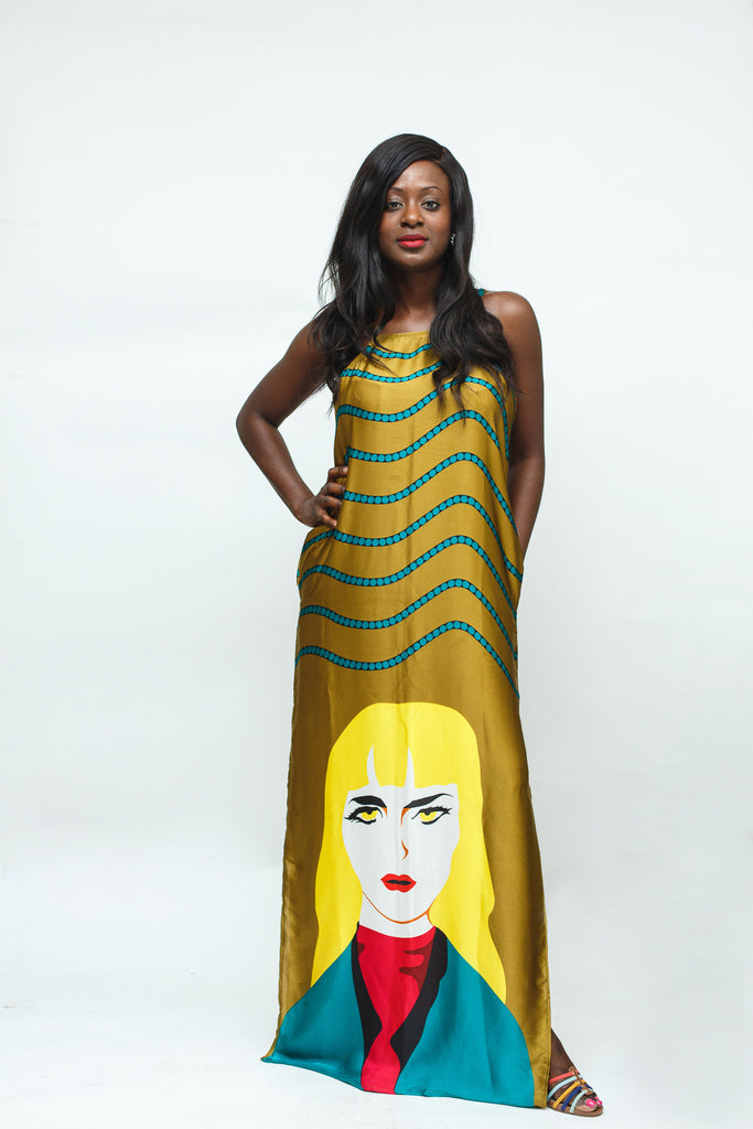 Gold Face Print Silk Maxi Dress