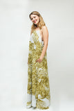 Yellow and White Fern Print Chiffon Maxi Dress