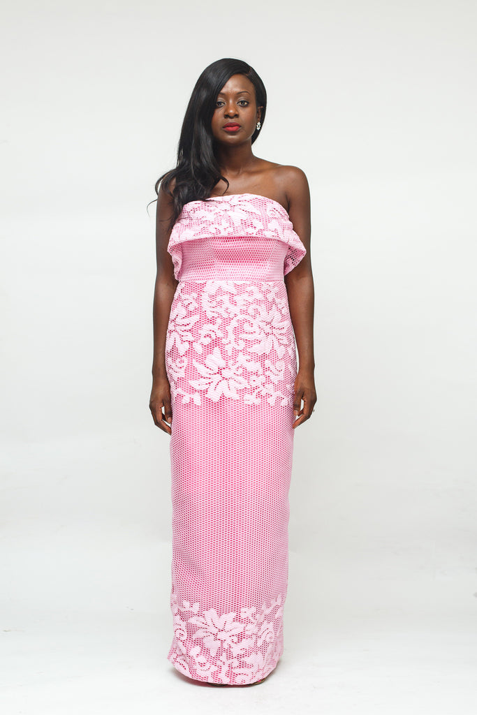 Pink Laser Cut Lace Effect Strapless Dress