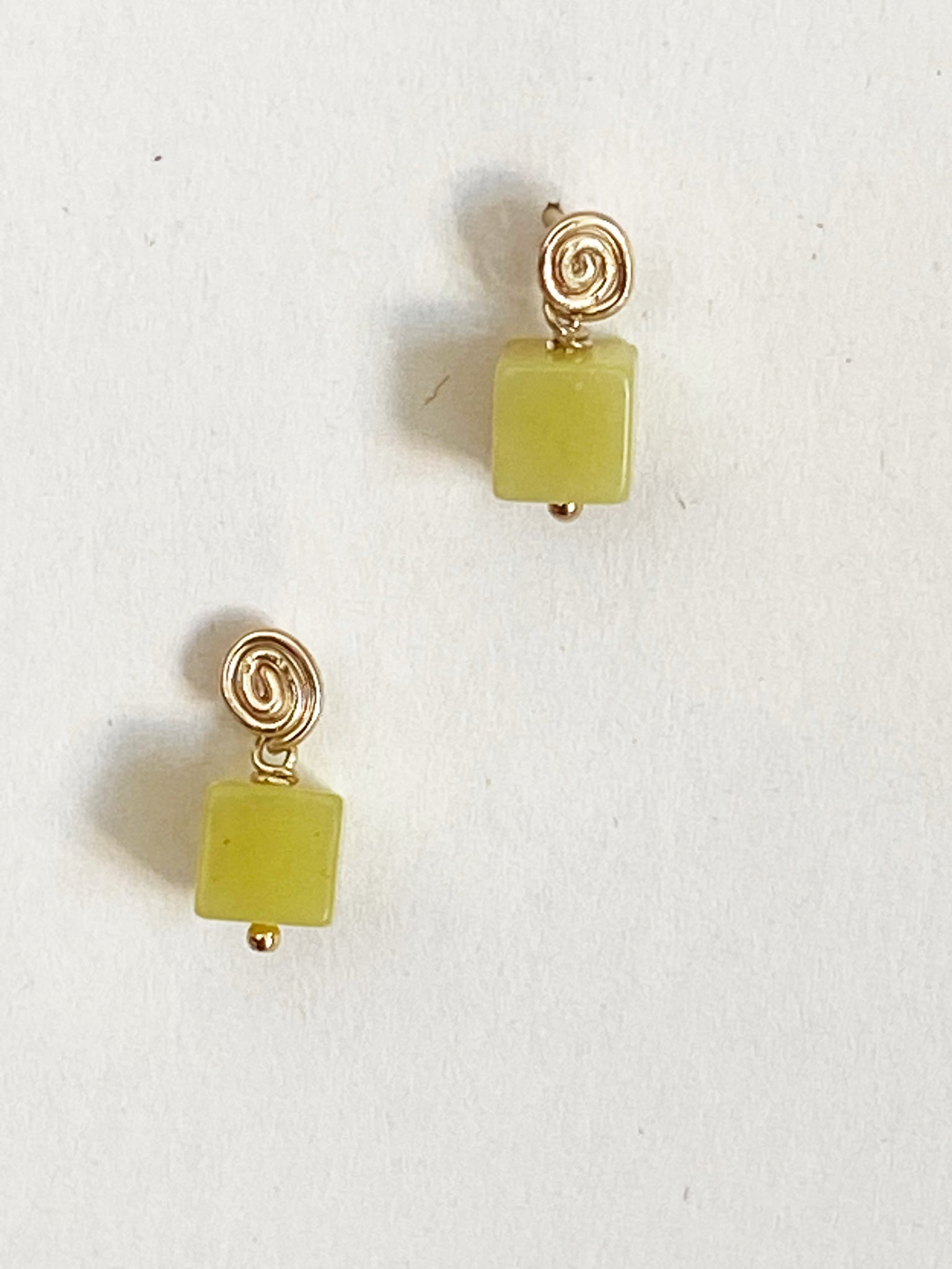 Inward Earrings- Olive Jade