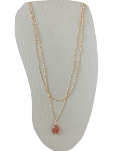Grace Necklace- Peach Moonstone