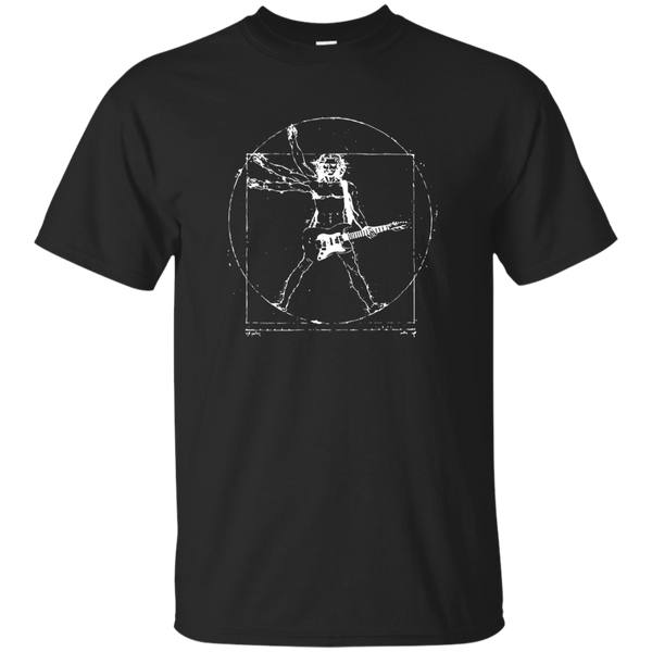 Guitar T Shirt - Cool Vitruvian Rocker Design T-Shirt for Artist or Musician Tee