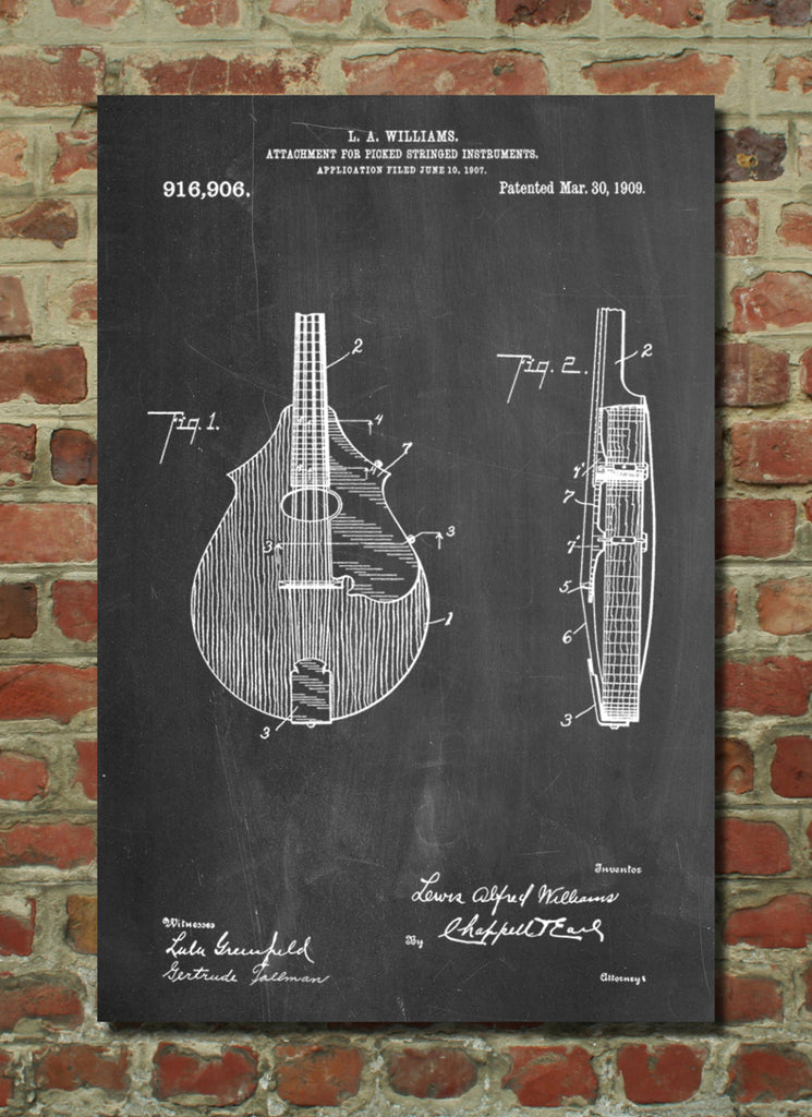 Mandolin Pick Guard Patent Poster
