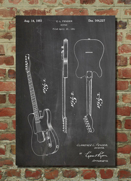 Fender Broadcaster Electric Guitar Patent Poster