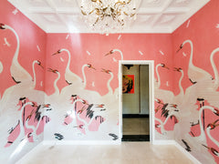 Gucci Pink Heron Wallpaper by Interior Designer Leslie Wiles for Luxe Furniture on Palm Beach Island Florida
