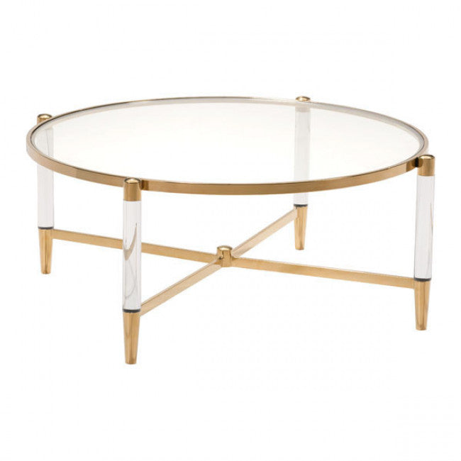 Existential Brass and Lucite Coffee Table