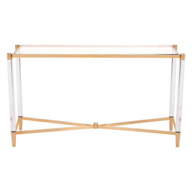 Existential Lucite and Brass Console Table