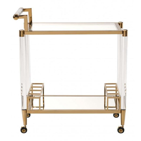 existential lucite acrylic brass bar cart