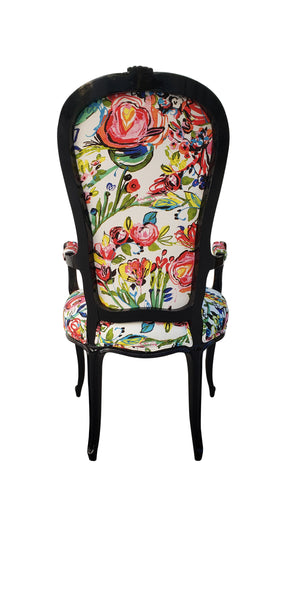 Antique High Back French Chair - Floral on Black