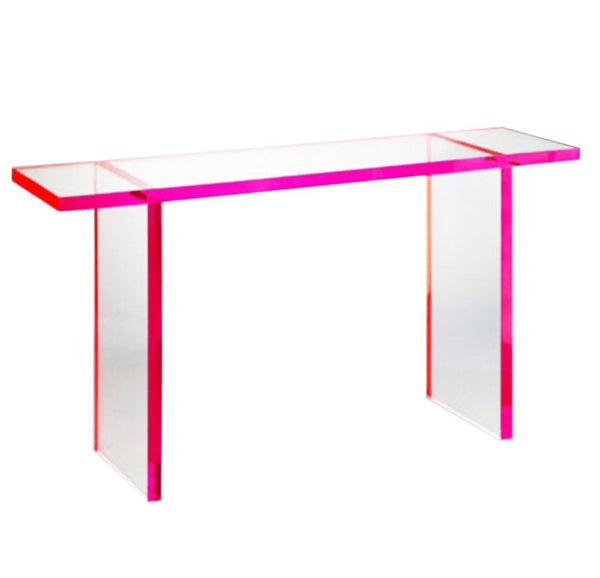 Red Flare Lucite Console Table - Choice of Color