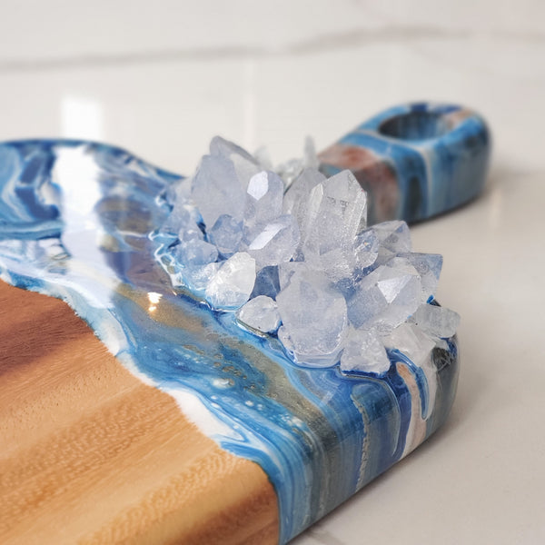 Blue white gold art resin cutting board with crystals