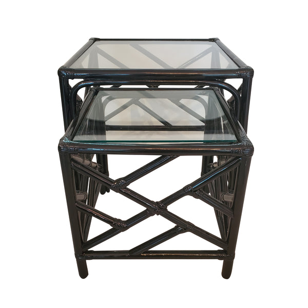 Chippendale Faux Bamboo Nesting Tables - Pair - Black