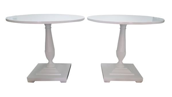 Antique Pedestal Side Tables - White