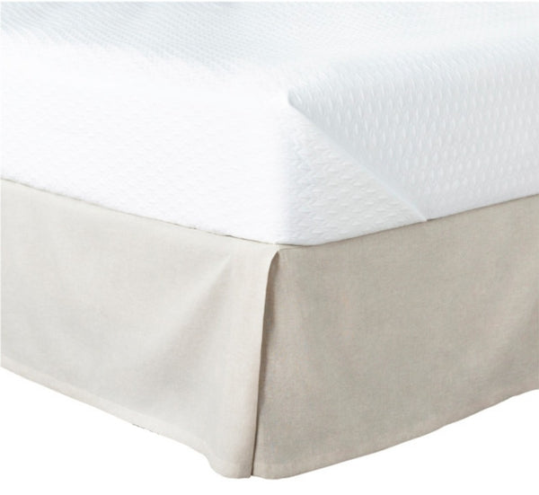 Luxe furniture luxe naturals tailored linen bedskirt in ivory linen fabric