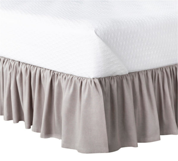 Luxe furniture luxe naturals ruffled linen bedskirt in grey fabric