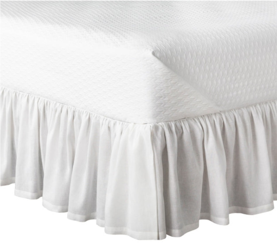 Luxe furniture luxe naturals ruffled linen bedskirt in white fabric