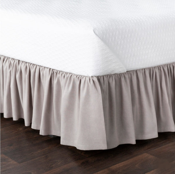 Luxe furniture luxe naturals tailored linen bedskirt in ivory linen fabricluxe furniture luxe naturals ruffled linen bedskirt in grey linen fabric