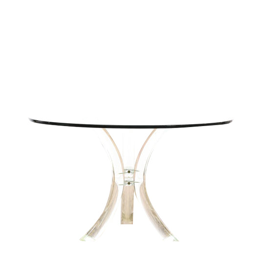 Charles Hollis Jones Tusk Pedestal Dining Table Base with Clear Glass Top