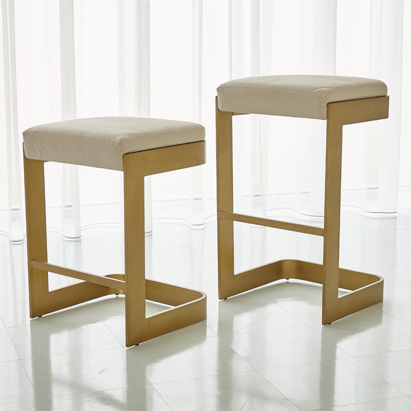 Regan Bar Stool - Ivory Leather on Antiqued Brass