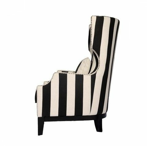 Class Act Wing Chair - Black and White Stripe