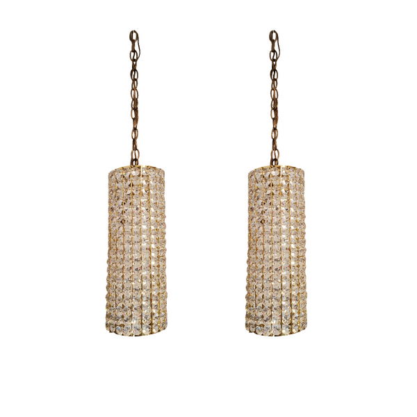 Hollywood Regency Crystal and Brass Hanging Lamps