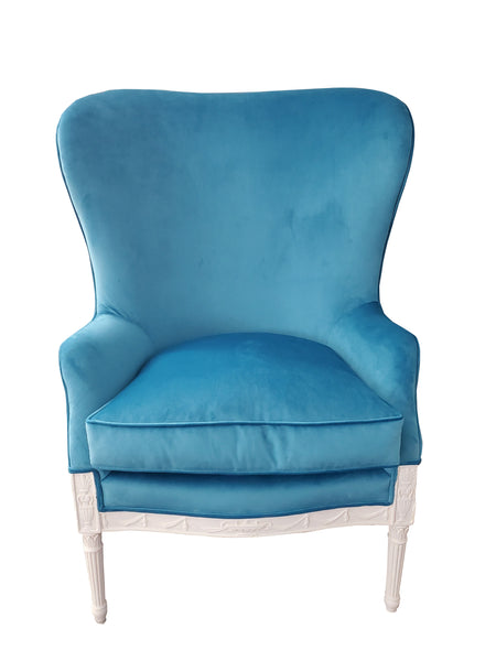 19th Century Winged Fan Chair - Turquoise Velvet