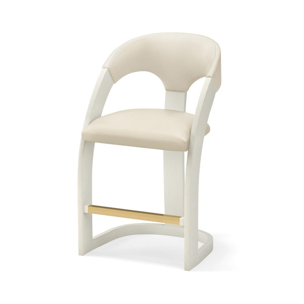 Delia Counter Stool - Antique White with White Leather