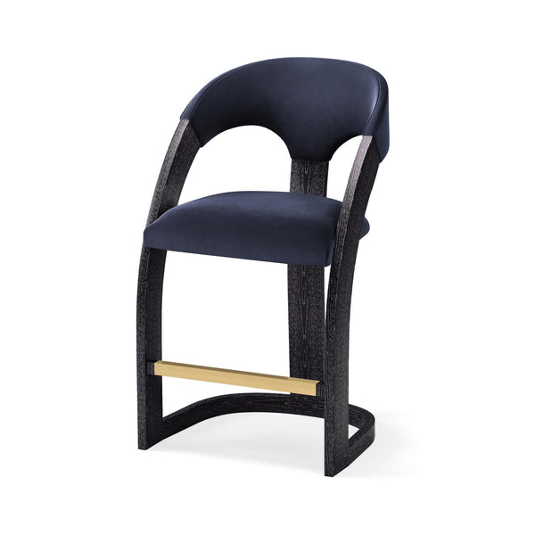 Delia Counter Stool-Ebony Cerused-Navy Velvet