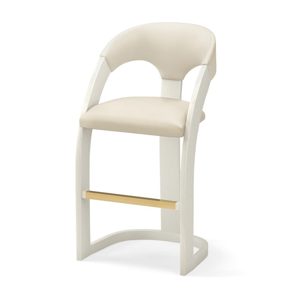 Delia Bar Stool - Antique White with White Leather
