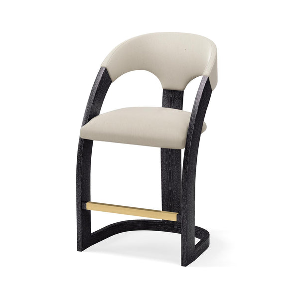 Delia Counter Stool-Ebony Cerused-Muslin