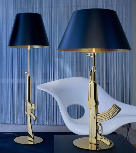 Philipp Starck Guns Table - AK47 Lamp - Silver or Gold