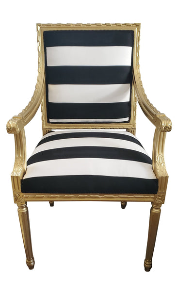 French Louis Chair - Black and White Stripe on Gold