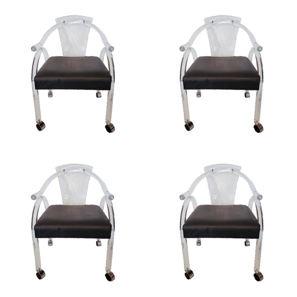 MCM Lucite Armchairs on Castors - Set of 4