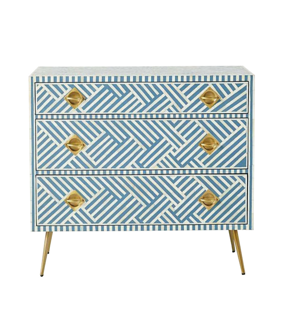 Bone Inlay 3 Drawer Chest - Blue and White