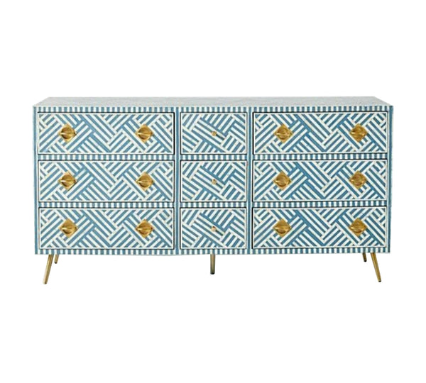 Bone Inlay 9 Drawer Dresser  - Blue and White