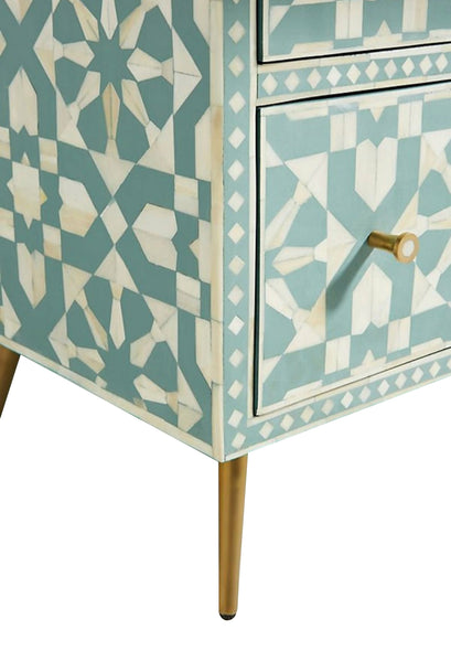 Bone Inlay 9 Drawer Dresser  - Green and White