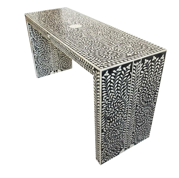 Bone Inlay Parsons Console Table - Black and White