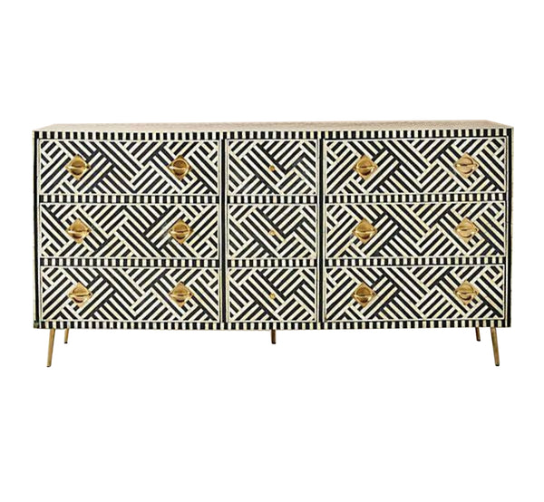 Bone Inlay 9 Drawer Dresser  - Black and White
