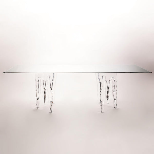 "Ice Dining Table - With Glass Top - 48""x96""x1/2"""