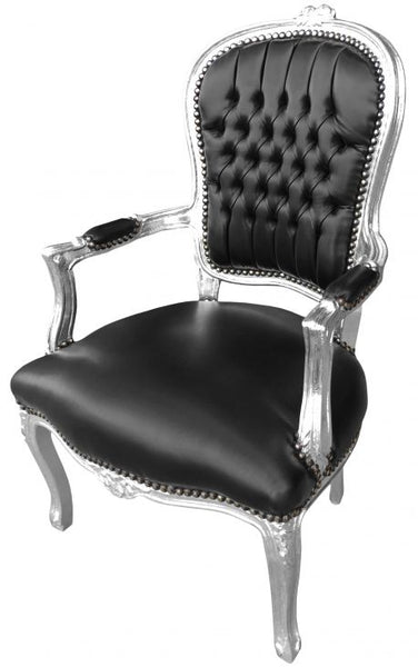 silver and black chair