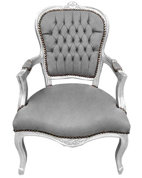 Baroque Armchair - Grey Velvet on Silver