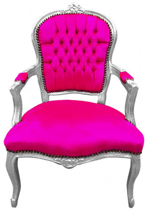 Baroque Armchair - Pink Velvet on Silver