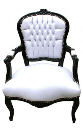 Baroque Armchair - White Leather on Black
