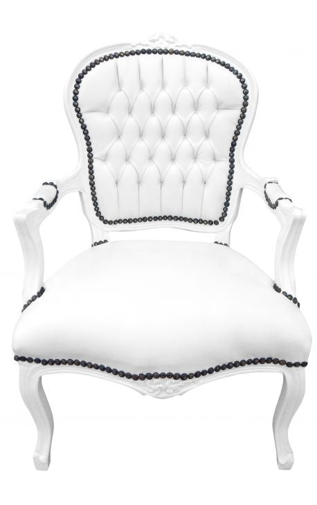 Baroque Armchair - White Leather on White